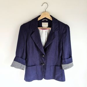 Kate Spade Alix Navy 3/4 Sleeve Linen Blazer